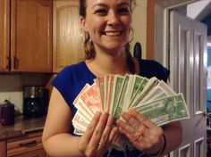 May 24: Peterborough, Ontario arrival, Shonagh counting her Canadian Tire money