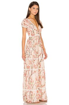 Lucca Couture Deep-V Maxi Dress in Nude | REVOLVE