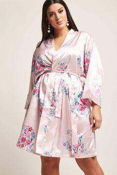 Plus Size Pretty Robes Floral Print Satin Kimono , Plus Size Ivory Dresses, Plus Size Robes, Plus Size Sleepwear, Plus Size Pajamas, Plus Size Intimates, Long Floral Kimono, Forever 21 Fashion, Plus Size Shorts, Nordstrom Dresses