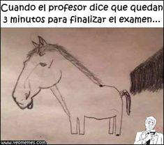 Tres minutos para finalizar el examen...😥😶