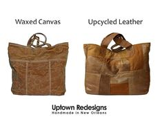 Waxed canvas or leather? Take your pick! They both develop an aged, loved patina over time, and both are soft and durable materials. Available now in this beautiful caramel brown and also an elegant dark navy blue. All handmade in New Orleans! Caramel Brown, Dark Navy Blue, Waxed Canvas, New Orleans, Upcycle, Reusable Tote Bags, Handbags, Elegant, Leather