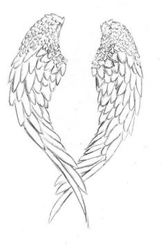 Angel Wings Art, Fallen Angel Wings, Angel Wings Drawing, Alas Tattoo, Datum Tattoo, Tattoo Painting, Cross With Wings, Wings Sketch, Angel Coloring Pages