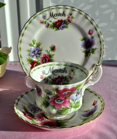 Royal Albert Flower Of The Month Series March Teacup Trio c.1970's