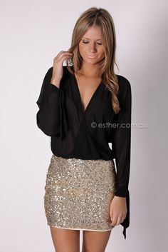 Sparkle skirt with black chiffon wrap blouse... So pretty