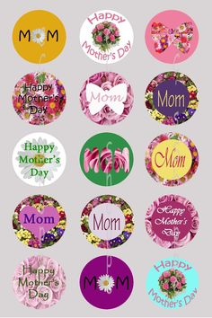 1 inch Circle Images for bottle cap, scrapbooking or other - Happy Mothers Day Mom. $1.29, via Etsy.