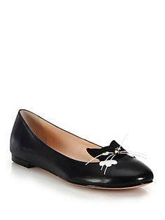 Kate Spade New York Whiskers Cat-Paneled Leather Flats