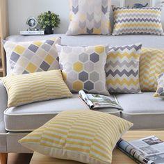 Capa de linho amarelo cinza Nordico estilo geométrico capa de almofada decorativa fronha 45 x 45 cm / 30 x 50 cm
