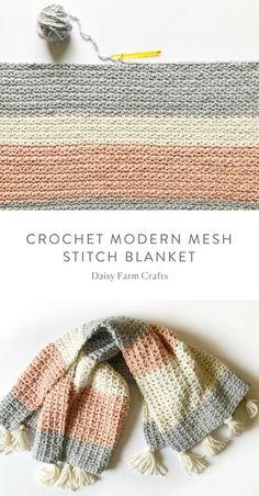 Crochet For Beginners Free Pattern - Crochet Modern Mesh Stitch Blanket Crochet Afghans, Tunisian Crochet, Afghan Crochet Patterns, Baby Blanket Crochet, Crochet Stitches, Crochet Blankets, Modern Crochet Blanket, Modern Crochet Patterns, Embroidery Stitches