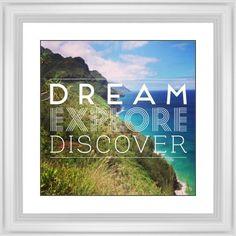 Dream Explore Discover Framed Print, White, Classic, Black, White, Single piece, 16 x 16 inches, White
