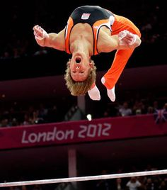 Gymnast from the Netherlands Epke Zonderland performs on the horizontal bar