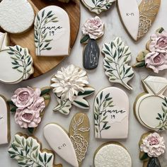 Iced Cookies, Cut Out Cookies, Sugar Cookies, Cookie Icing, Royal Icing Cookies, Wedding Shower Cookies, Blush Bridal Showers, Cookie Decorating, Decorating Cakes