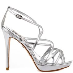 Adonis II heels Silver Leather brand heels Badgley Mischka |Heels|