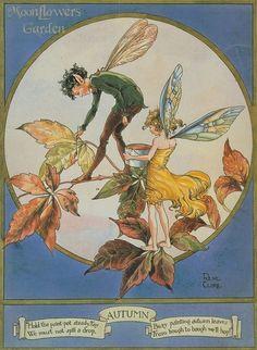 Rene Cloke Autumn Fairies painting Leaves