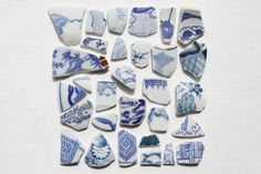 30 Japanese Blue and White Sea Pottery Pieces,Beach Pottery,Coastal Home Decor,Antique,Craft Jewelry Pottery Ceramic,Japanese Vintage Gifts by ReverseGem on Etsy