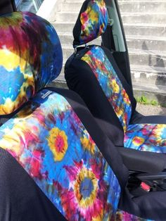 SALE Tye Dye Print Pair Of Car Front Seat Covers By Funkmyseat