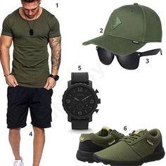 Männer-Style mit olivgrünem XXL-Shirt, schwarzem Fossil Chronograph, Sonnenbrille, Djinns Cap, Benk Shorts und Supra Sneakern.