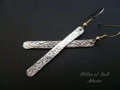 Aluminum stick earrings / floral textured Lightweight aluminum earrings / 10th wedding anniversary gift idea / aluminum jewelry by PillarOfSaltStudio on Etsy https://www.etsy.com/listing/253325768/aluminum-stick-earrings-floral-textured