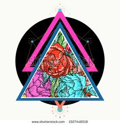 Roses in a triangle tattoo, t-shirt design. Floral fashion poster pop art