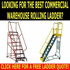 Warehouse Industrial Ladders, Accessories & Discount Sales. Slant Zero carries commercial rolling ladders that add safety and rapid right of entry to shelving for workers who carry large, unbalanced materials in their arms or over their shoulders. It is easier for staff to keep their balance when climbing down alternating tread stairs than it is on conventional rolling ladders.