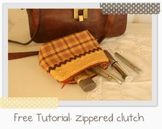 My country nest: Free Tutorial: Zippered Clutch ( pochette con cerniera)
