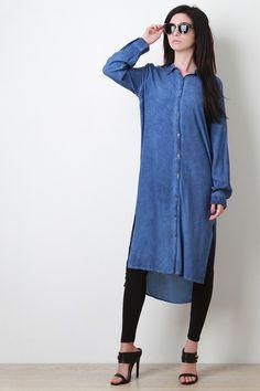 Button-Up Shirt Midi High-Low Dress