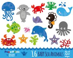 16 baby sea animals, sea animals patterns, sea animals clipart, dolphin crab octopus sea lion seahorse seafish clipart clip art, party cards
