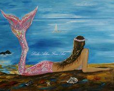 "Mermaid Art Little Mermaid Mermaids Fantasy Magical Seascape ""Beauty Of A Mermaid"" Print of Original Custom Mermaid Painting Seascape Ocean. $15.00, via Etsy."
