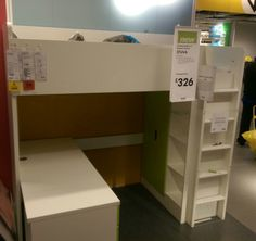 Compact and full of storage. The new Stuva bed unit at Ikea. Boys Loft Beds, Beds For Kids Girls, Bed For Girls Room, Kid Beds, Box Room Bedroom Ideas, Room Design Bedroom, Bedroom Bed, Kids Bedroom, Ikea Stuva Bed