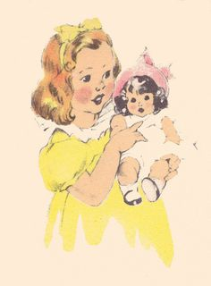 MY DOLLY & ME~Janet Laura Scott girl with doll