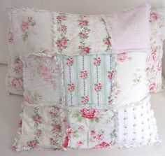 Vintage Fabric Pillow  Shabby Cottage Pink by PurpleFlowerFairy