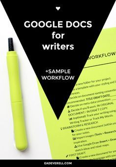 Google Docs for Writers Do you use Google Docs for writing? Check out this workflow guide and video with tips.