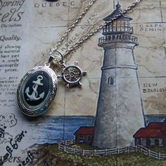 Anchors Away Locket Necklace Anchors Aweigh by SouthernBelleOOAK