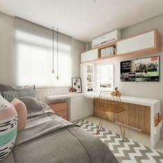 Interior Design and Home Decor Ideas Girl Bedroom Designs, Room Ideas Bedroom, Small Room Bedroom, Bedroom Decor, Master Bedroom, Bedroom Office, Trendy Bedroom, Cute Room Decor, Dream Rooms