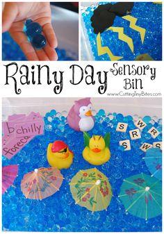 Rainy Day Sensory Bin- great for preschool or kindergarten weather theme unit