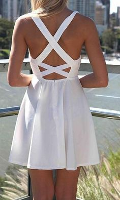 White Skater Dress with Gold Sequin Bodice Criss Cross Back