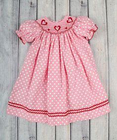 Pink Polka Dot Heart Bishop Dress - Infant, Toddler & Girls