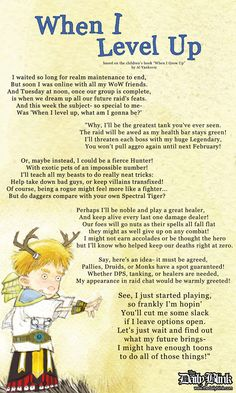 "When I Level Up, parody of the children's book, ""When I Grow Up"" by Al Yankovic. (Click through to read it at The Daily Blink.)"