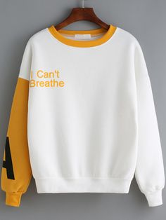 Yellow White Round Neck Letters Print Sweatshirt from shein, Free Shipping, Fast Shipping