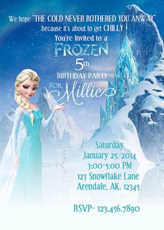 FROZEN Birthday Party Invitation ELSA 5x7 by KeepSmilingProject, $8.00