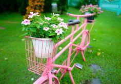Am besten machen sich Blumensorten mit vielen Blüten und leuchtenden Farben. Mit Blumen in einem ähnlichen Ton wie das Fahrrad wird das Gesamtbild stimmig.