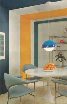 1970s retro futuristic dining room.