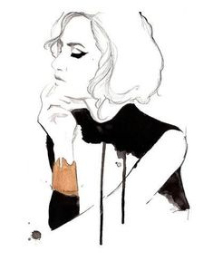 Print from original watercolor and pen fashion illustration by Jessica Durrant titled The Golden Cuff via Etsy Art And Illustration, Fashion Illustration Sketches, Fashion Sketches, Drawing Fashion, Dress Sketches, Design Illustrations, Sketches Of Women, Portrait Illustration, Watercolor Fashion