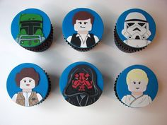Is the Force with your cupcakes? It can be now thanks to these awesome looking cupcake toppers! These LEGO Star Wars cupcake toppers (they can be used on cookies too) are hand made, hand painted and completely edible! Star Wars Cupcake Toppers, Star Wars Cupcakes, Star Wars Cake, Star Wars Party, Lego Star Wars, Star Wars Birthday, Boy Birthday, Birthday Ideas, Birthday Cake