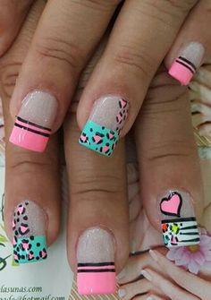 Nails by lorrie Fingernail Designs, Cute Nail Designs, Nails Only, Love Nails, Fabulous Nails, Gorgeous Nails, Bella Nails, Animal Nail Art, Valentine Nail Art