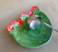 Cactus Spoon Rest, Prickly Pear Cactus dish, pottery cactus serving dish with red flowers, food safe glaze, ceramic plate, kitchen decor by RobinChladDesigns on Etsy