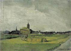 Landscape with hay cart, church towers and windmill - Theo van Doesburg