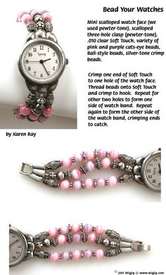 Bead Your Watches made with WigJig jewelry making tools, beads and jewelry supplies. - Craft ~ Your ~ Home
