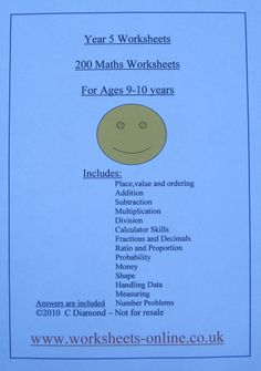 math worksheet : 200 year one maths worksheets for children aged 5 and 6 years old  : Maths Worksheets For 9 Year Olds