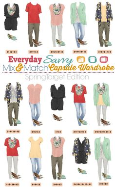 Fun Spring Target Capsule Wardrobe. Casual and cute mix and match outfits that are fun and frugal.