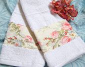 FAYE FLORAL Custom Decorated on WHITE Hand Towels -  Ralph Lauren Fabric - Stocking Stuffers